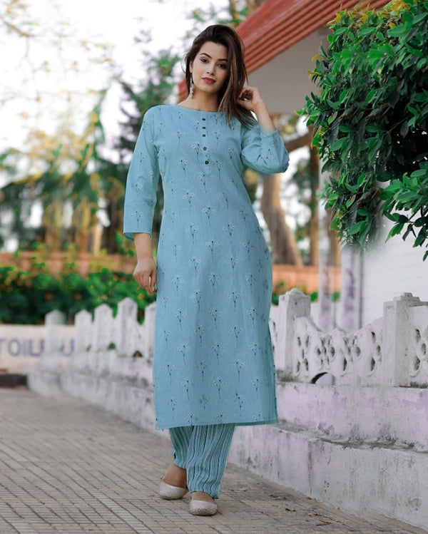 Cotton kurti pant suit