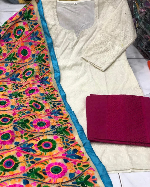 Cotton top cullote  kashmiri work dupatta