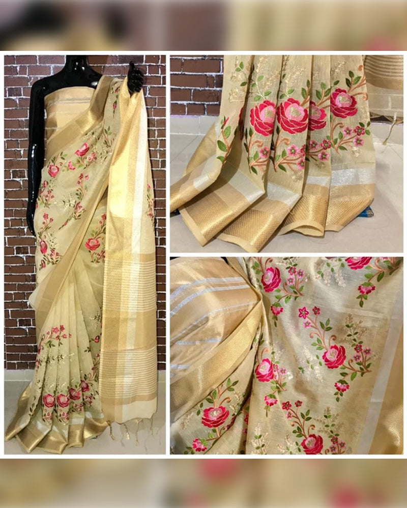 Cream embroidery linen saree
