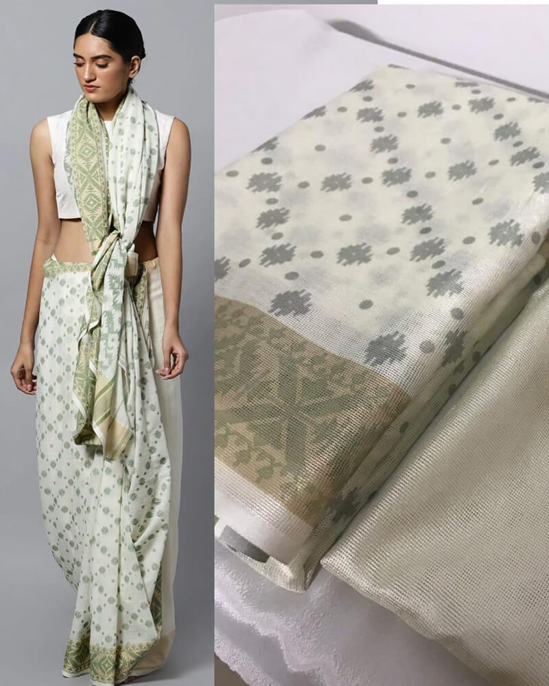 Cream Jamdani Saree