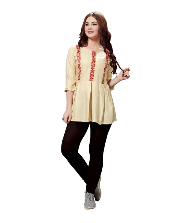 Cream Rayon Slub Tunic Top