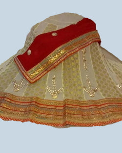 cream red lehenga choli with dupatta