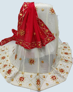 Cream Red Traditional Gotta Patti Lehenga