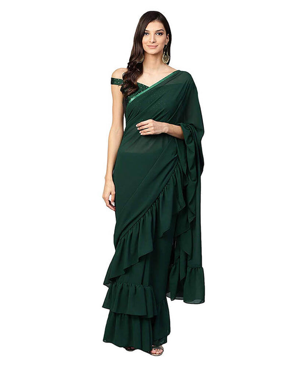 Dark Green Designer Ruffle Saree