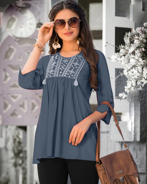 Dark Grey  Jam Cotton Work Western Tops
