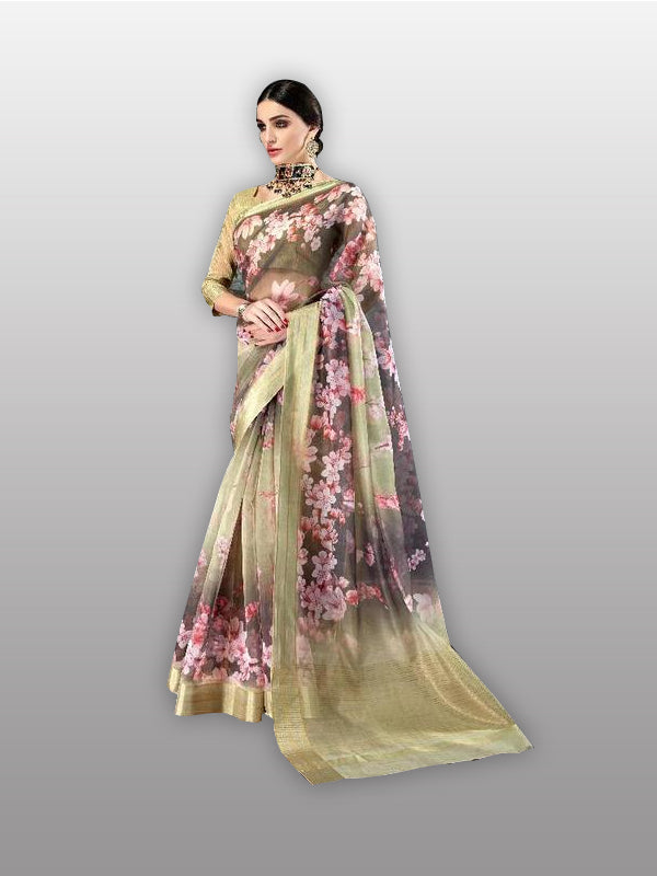Digital print organza saree - Fashionmozo