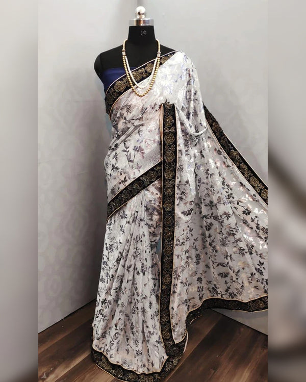 Fancy Fabric Velvet Border Saree