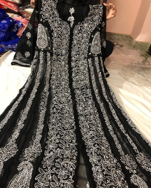 Front Open Anarkali Black Kurti