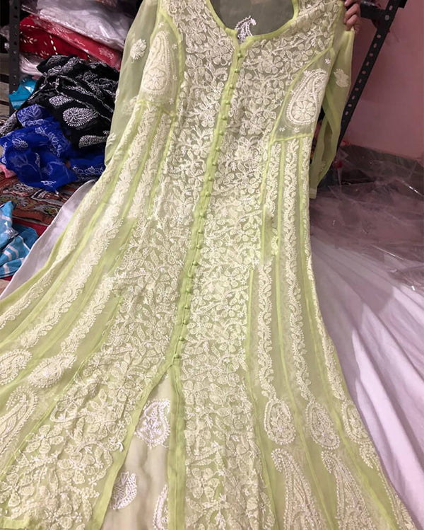 Front Open Anarkali Light Green Kurti