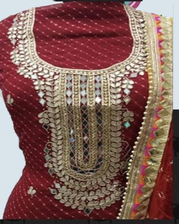 Red Georgette Traditional Dress Material