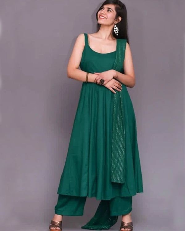Gold lining green dupatta flair kurti plazo