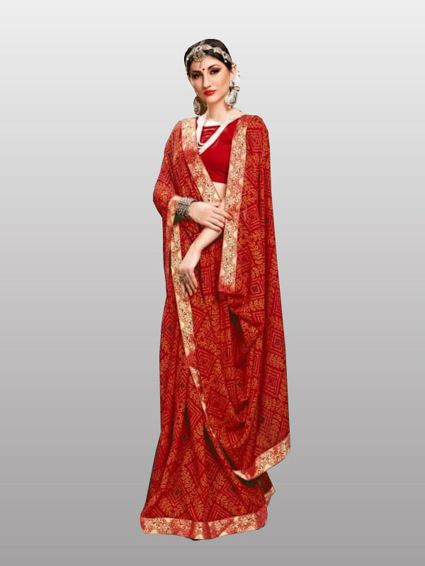 Red bandhej saree