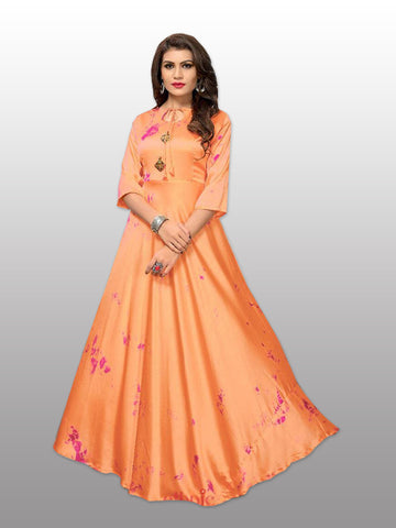 full length peach gown - Fashionmozo