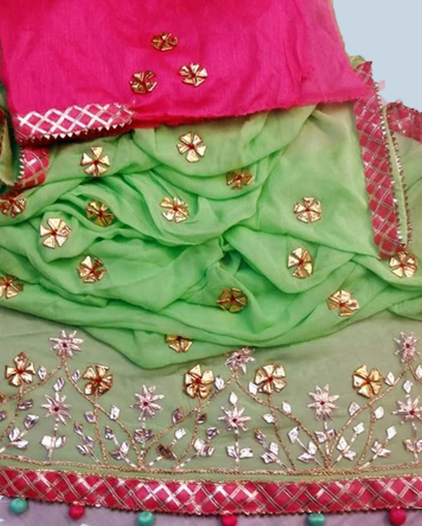Green Floral Gotta Work Saree