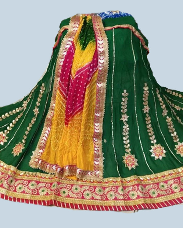 Green gotta patti lehenga with bandhej dupatta