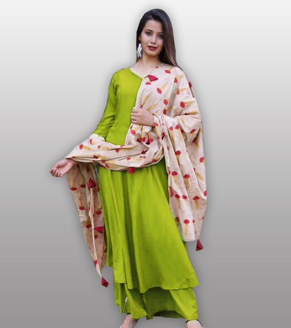 Green kurti plazo set with printed dupatta