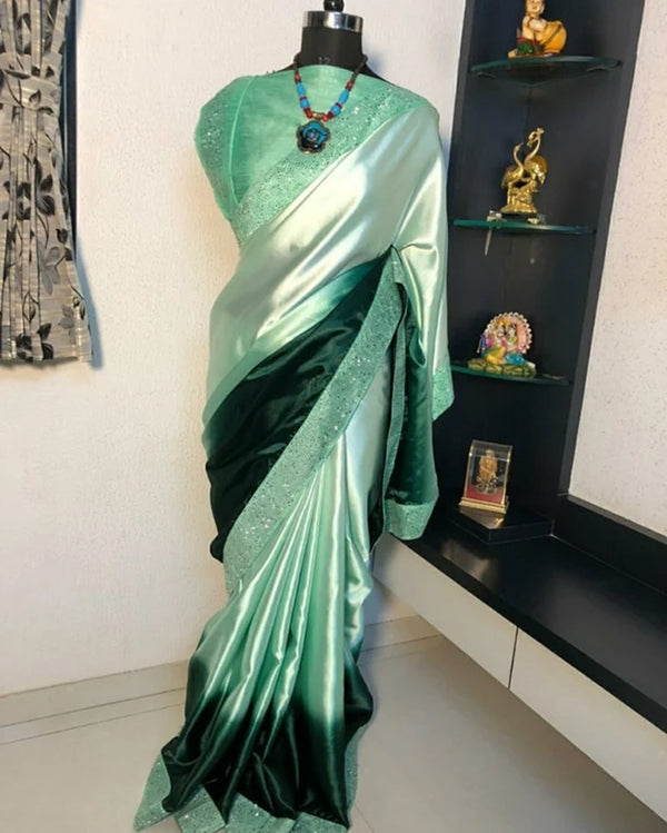 Green Partywear Satin Saree