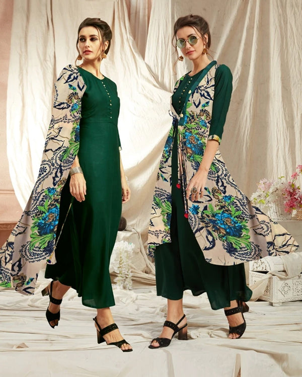 Green Rayon Kurti with Jacket