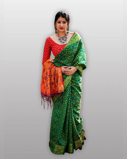 Green Saree Red Blouse