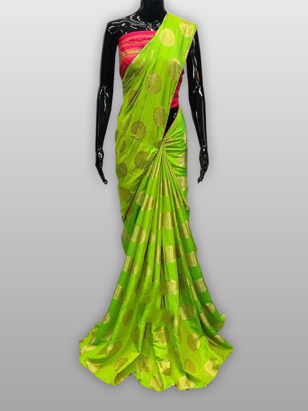 Green Silk Saree With Contrast Blouse