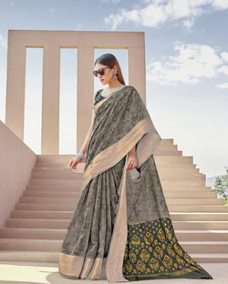 Grey silver linen saree