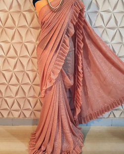 Peach Readymade Pleated Ruffle Saree
