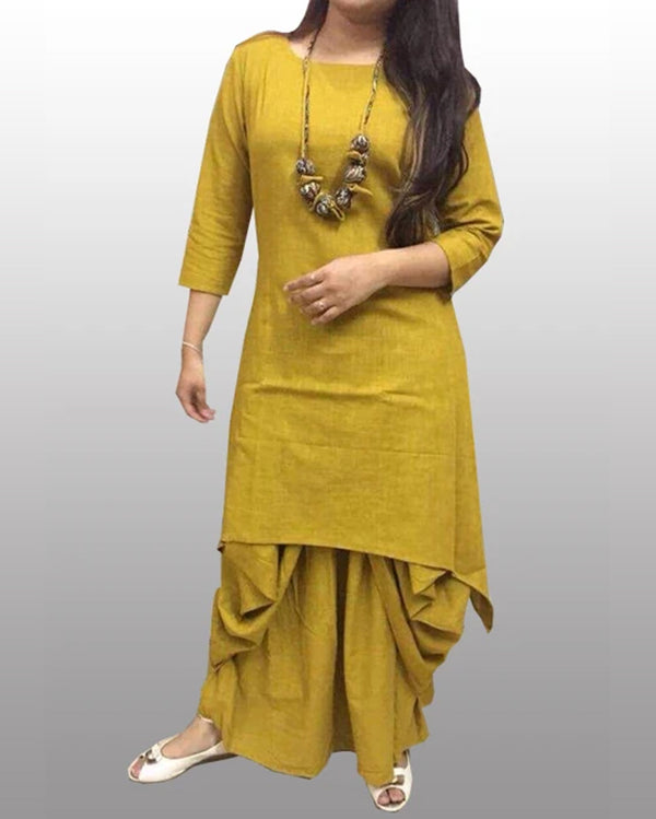 Jasmine Dhoti Kurti Cotton - Gold