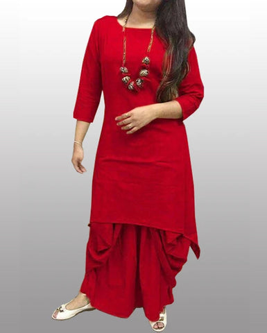 dhoti kurti cotton - Red - Fashionmozo