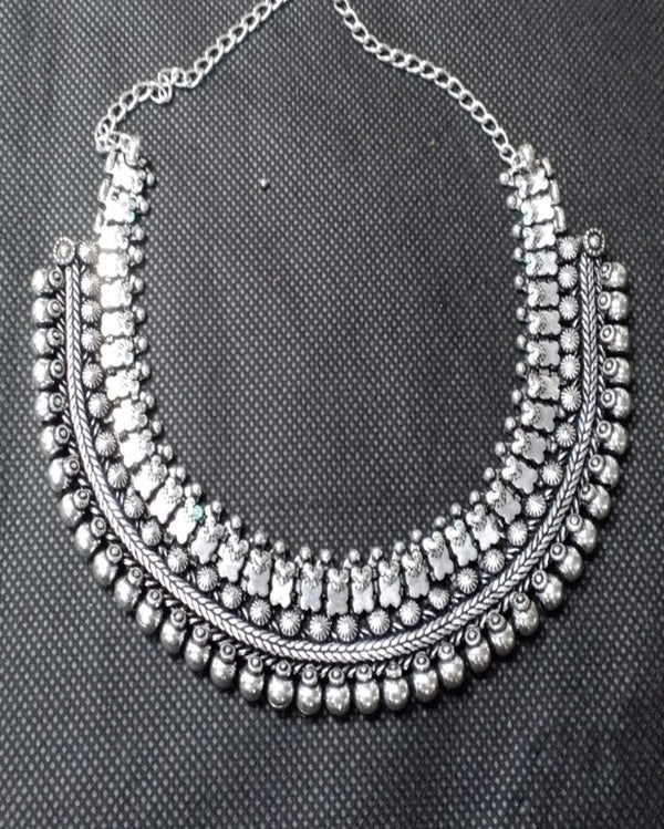 The Mira Silver Beaded Necklace