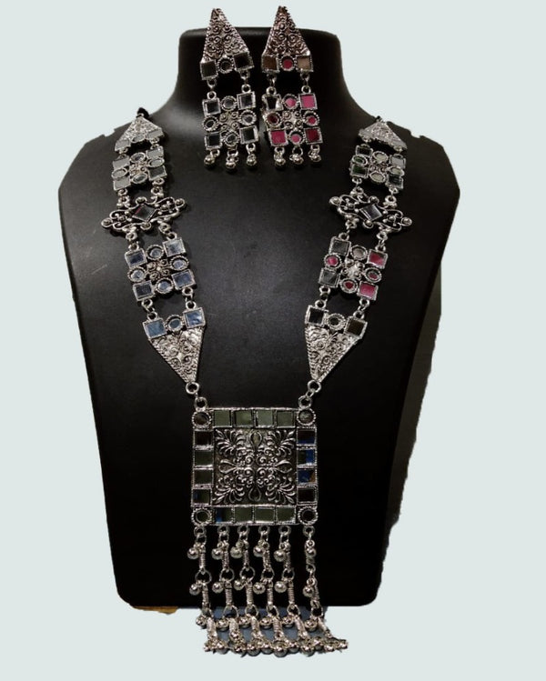 The Square Statement Mirror Oxidised Necklace Set