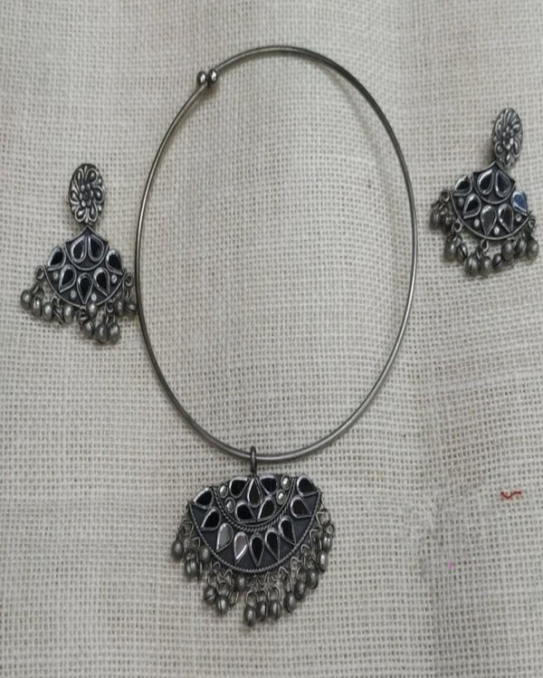 Shining Mirror Work Silver Necklace Set