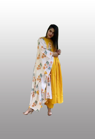 kurti plazo set with printed dupatta
