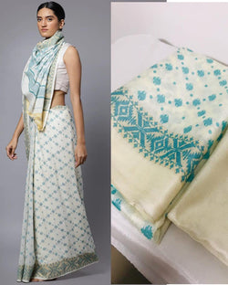 Lace Border Jamdani Cotton Saree
