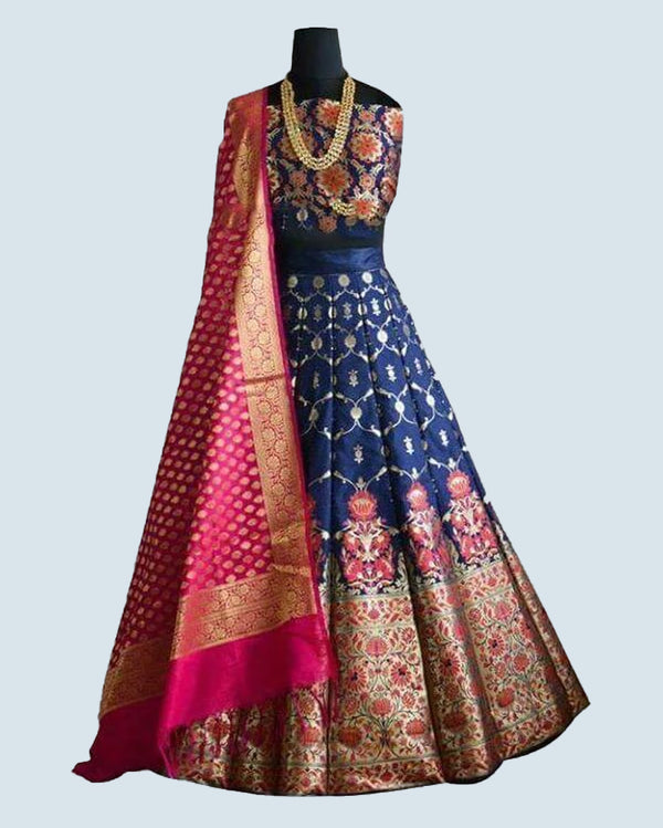 Brocade Lehenga Choli with Banarsi Dupatta