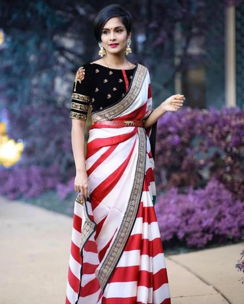 Lining Print Embroidery Saree