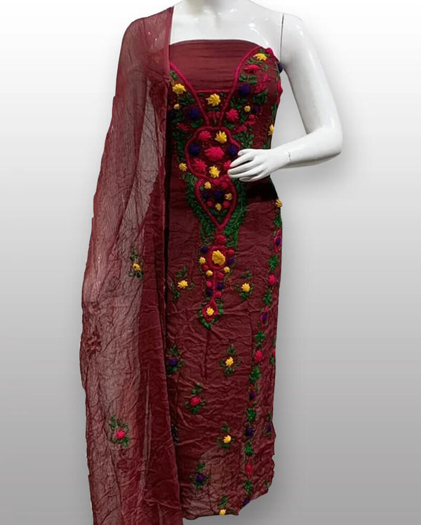 Maroon Chiffon Shirt And Dupatta