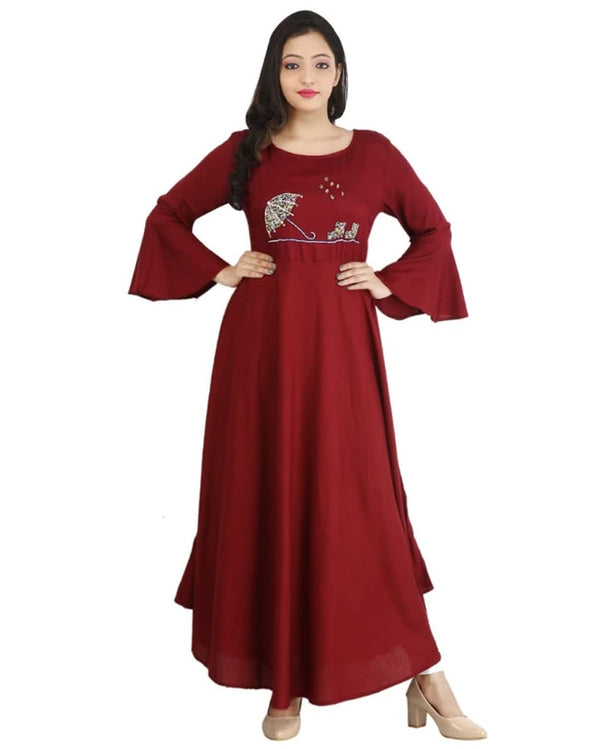 Maroon frock gown