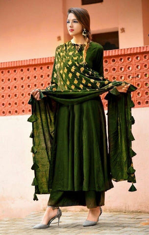 Mehendi kurti plazo with gold print dupatta