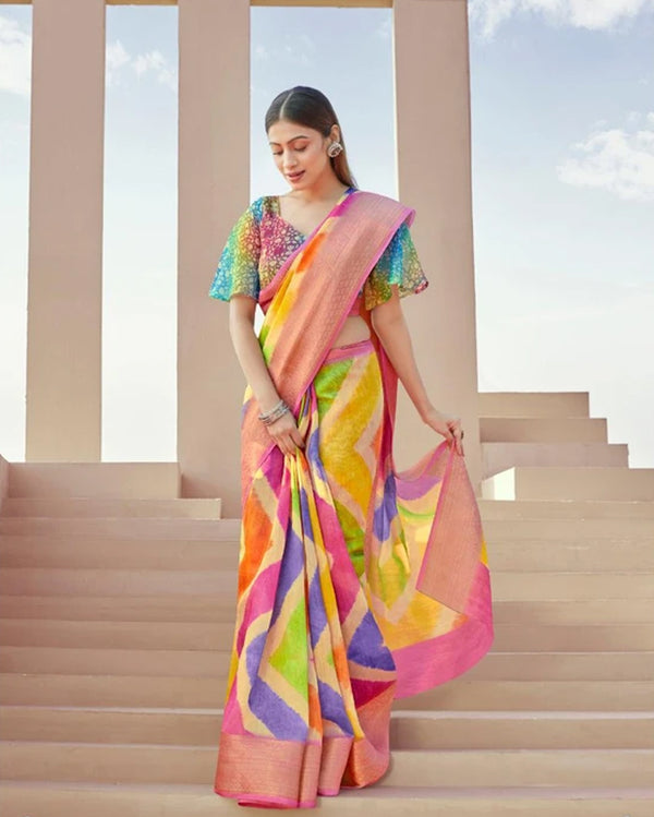Multicolour linen saree