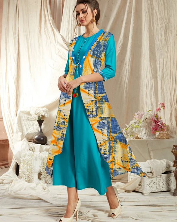 Navy Blue Rayon Kurti with Jacket