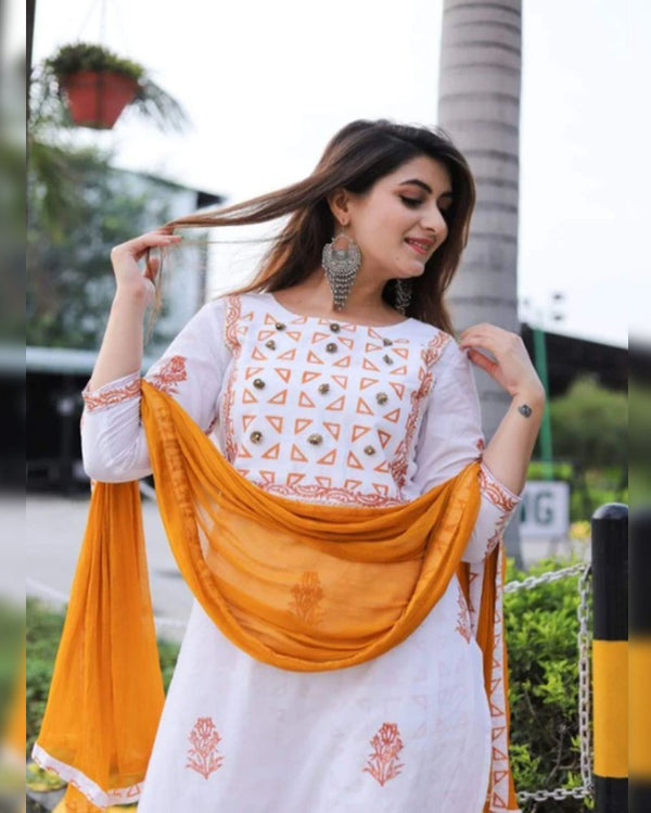 Neck Embroidery Kurta Pant With Dupatta