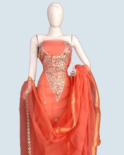 Orange kotta gotta patti dress material