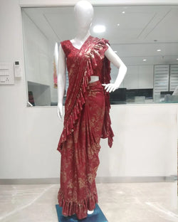 Party wear ruffle saree designer