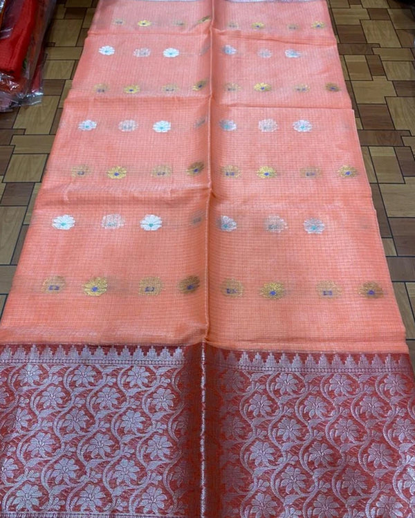Peach kota golden border saree