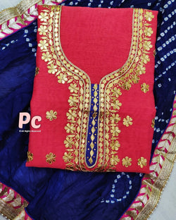 Pink chanderi Dress Material with bandhani Dupatta