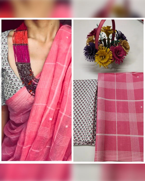 Pink check print saree