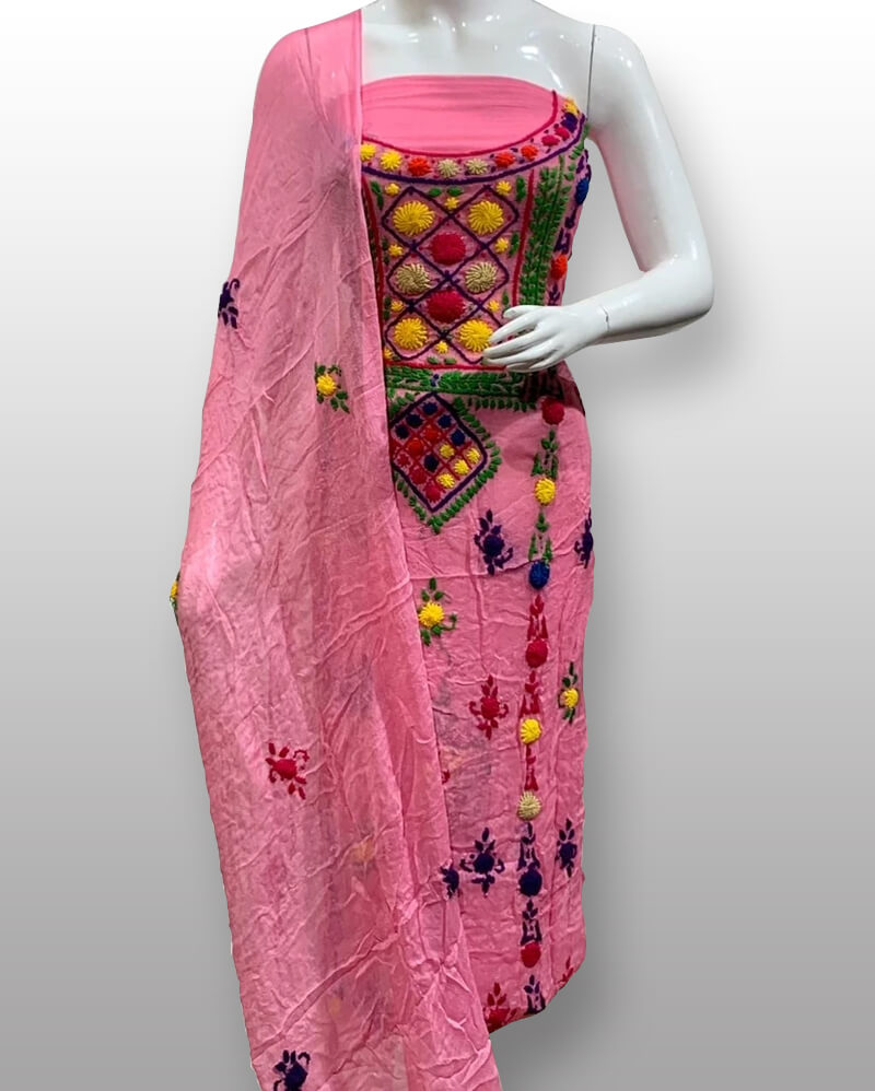 Pink Chiffon Shirt And Dupatta