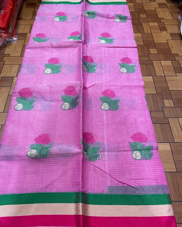 Pink cotton flower saree