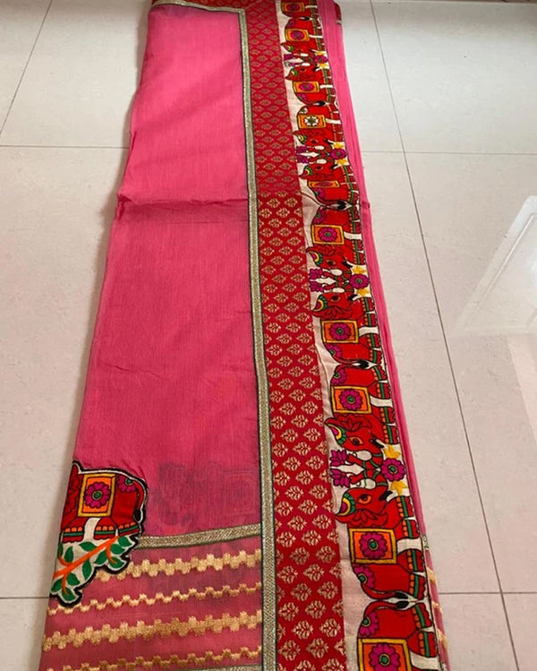 Pink elephant cotton saree