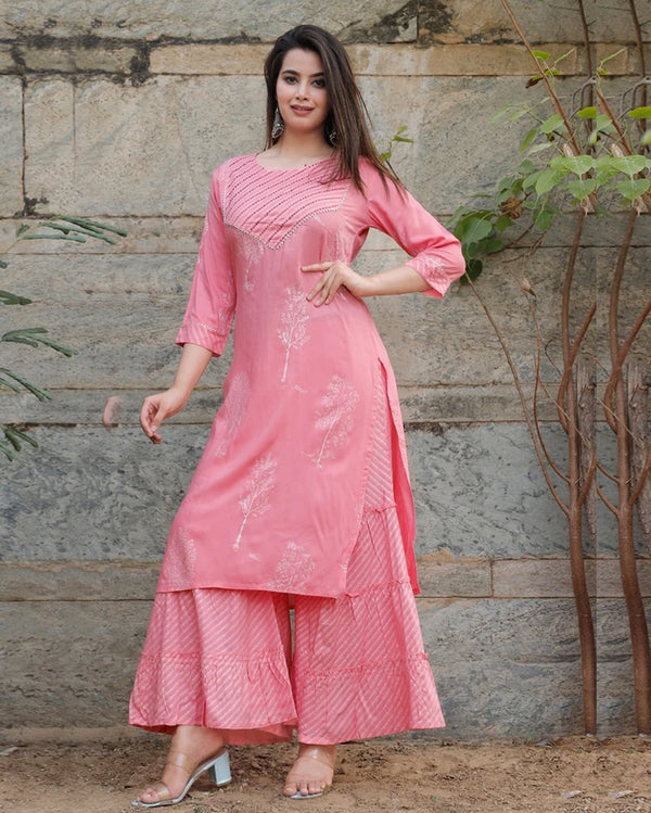 Pink girlish sharara kurti set